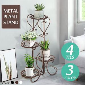 4-Tire-Metal-Flower-Pot-Rack-Plant-Display-Stand-Shelf-Holder-Garden-Patio