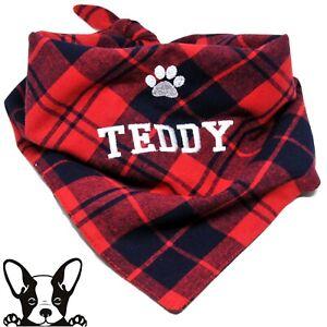 Handmade Personalised Embroidered Dog Bandana Neckerchief Red /& Navy Check