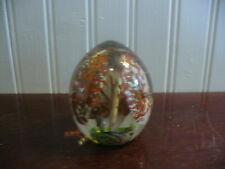 Hand Blown Egg Shape Red and White Speckled Calla Lily Blossoms Paperweight