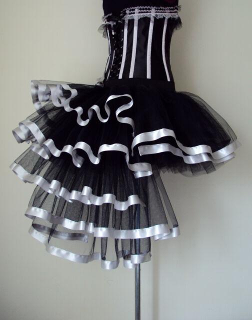 Black Silver Burlesque Tutu Skirt size XS S M L XL Sexy Bustle The Tutu Store-UK