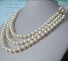 """triple strands natural 8-9mm akoya white pearl necklace 18""""-22"""" 14K gold clasp"""