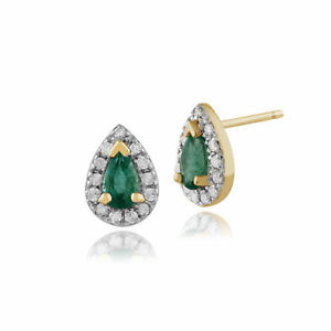 9ct Gold Opal and Emerald Oval Cluster stud earrings