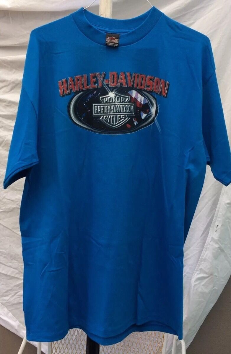 HD Harley-Davidson Motorcycles T Shirt Los Angeles California Sz XXL bluee 1998