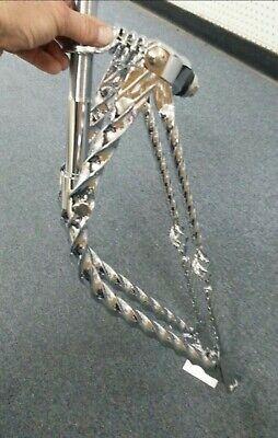 """CUSTOM Bent Springer Fork Square Twisted Chrome for 26/"""" Bike Lowrider Cruiser"""