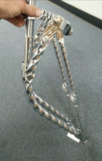 Chrome Sissy Bar Flat Twisted Withe Bird Cage For Lowrider