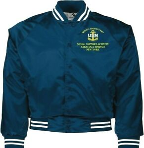 NAVAL SUPPORT ACTIVITY SARATOGA SPRINGS NY NAVY EMBROIDERED 2-SIDED SATIN JACKET