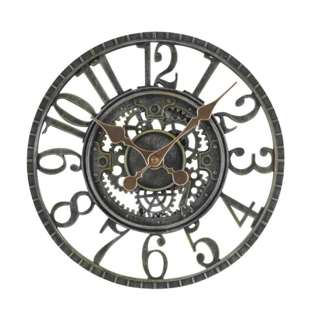Smart Garden Newby Mechanical Wall Clock Verdi-Gris Finish 12""