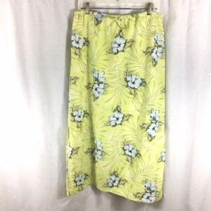 Tommy-Bahama-Skirt-Green-Floral-Long-Drawstring-Silk-Linen-Blend-Women-039-s-Size-10