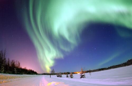 d4340 Aurora Borealis Shine Above Bear Lake Print//Poster Northern Lights