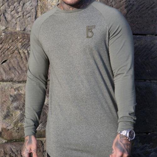 BBH Mens Gym T shirt Longline Slim Muscle Fit Long Sleeve Plain Curved Hem Tee