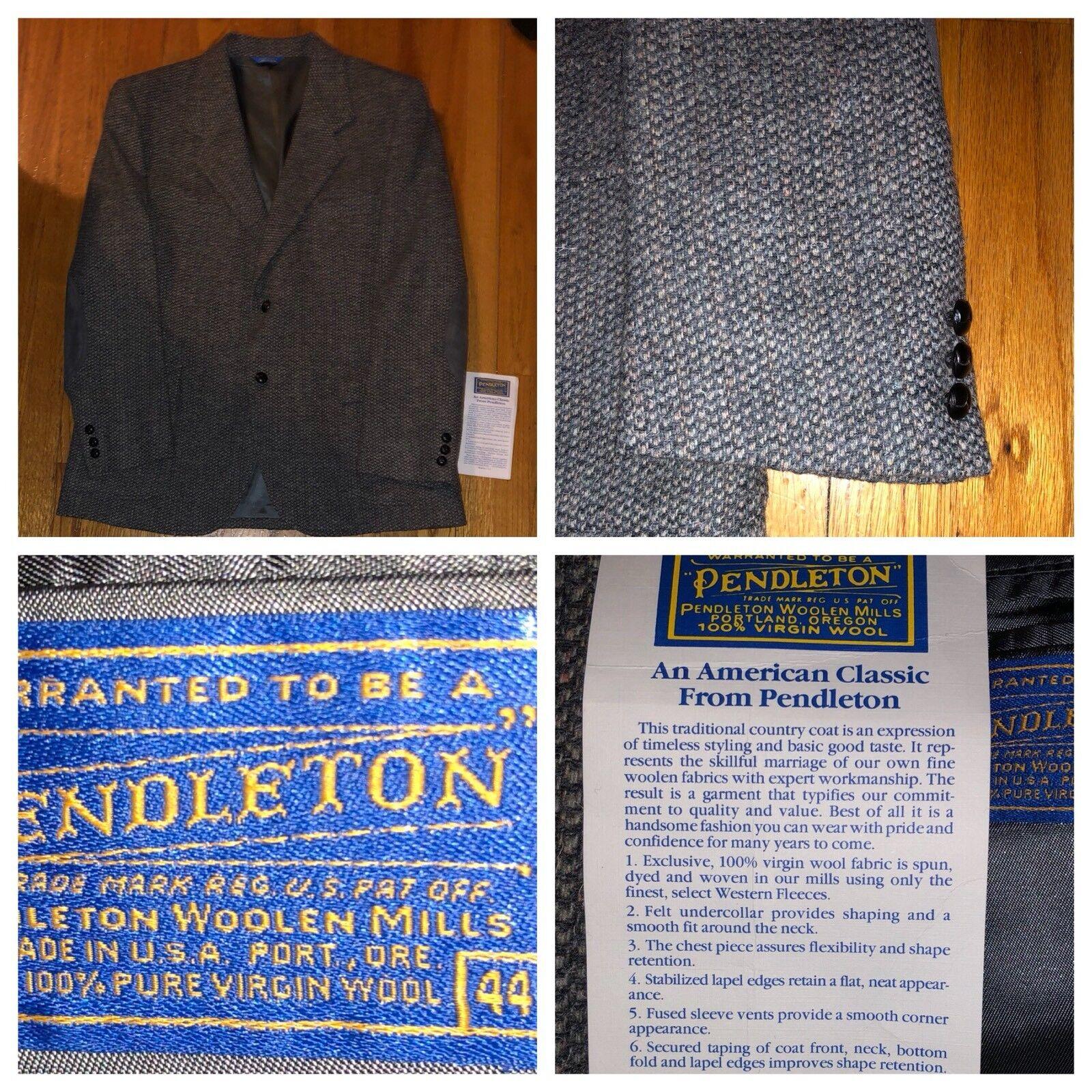 Vtg Pendleton Wool Tweed 2 Button Elbow Patch Sport Coat Blazer Größe 44 USA