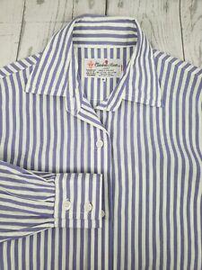 Turnbull-amp-Asser-Dress-Blouse-Sz-8-Purple-Green-Striped-Long-Sleeve-Button-Down