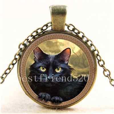 Vintage Black Cat Photo Cabochon Glass Bronze Chain Pendant  Necklace