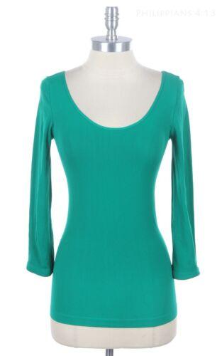 Women/'s Super Soft Seamless 3//4 Sleeve Round Scoop Neck Top Good Stretch