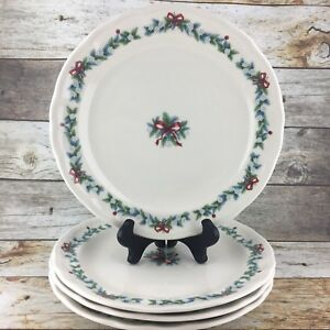 PFALTZGRAFF-Christmas-RED-RIBBON-with-Bow-Stoneware-Dinner-Plates-Holiday-Set-4