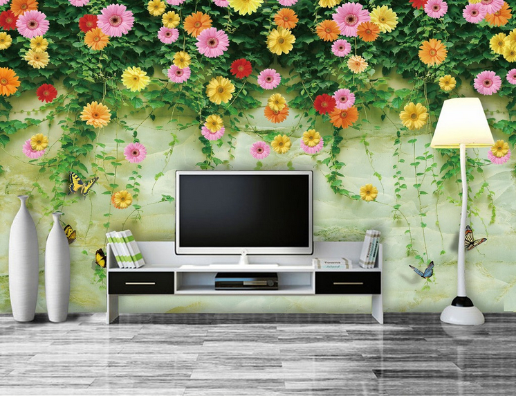 3D Flowers Butterfly Wall Paper Wall Print Wall Decal Wall Deco Indoor Murals