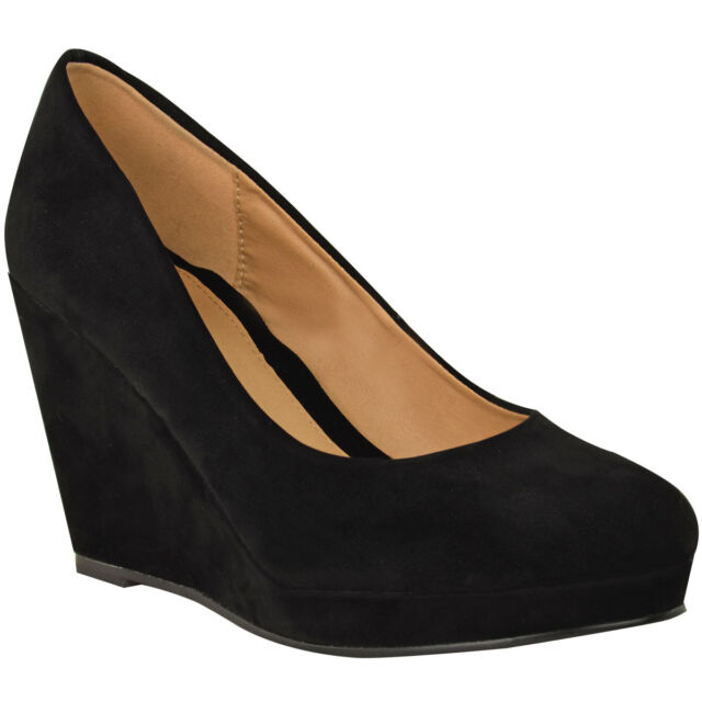 Ladies Womens Mid Heel Wedge Court Work Shoe Black Nude Sizes3-8 for ... ab2807406531