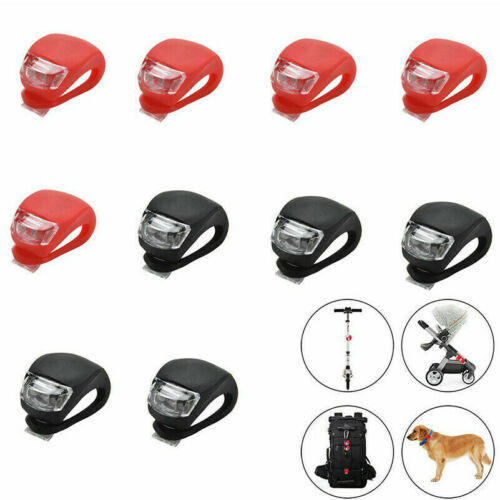 10 Pcs Silicone Bicycle Bike Cycle Safety LED Head Front /& Rear Tail Light Set