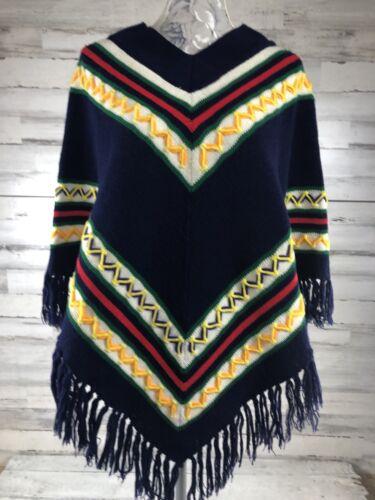 Vtg Miss Erika Inc Navy Knit Poncho 1970s Chevron