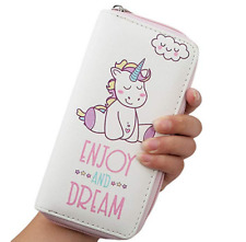 New Unicorn Theme Purse Pu Leather Wallet with Zipper Bag for Womens Girls Gift