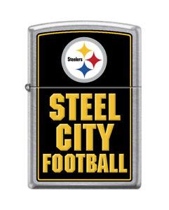 Zippo-9121-Pittsburgh-Steelers-Steel-City-Football-NFL-Street-Chrome-Lighter