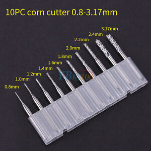 10tlg-0-8-3-17mm-PCB-Drill-Bit-Fraesstifte-Set-Schaftfraeser-Fraeser-1-8-039-039-Schaft