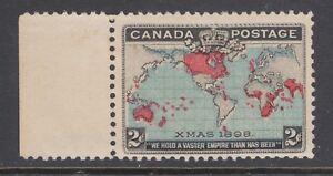 Canada Sc 86, MLH. 1898 2c Map, blue oceans, sheet margin example, fresh