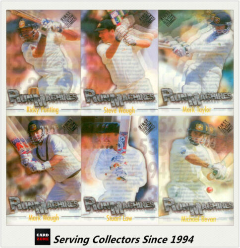 1996/97 Futera Cricket Decider Acetate Card Run Machine Cards Full Set (6)--Rare