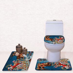 3-Piece-Bathroom-Rug-Set-Bath-Mat-Contour-Toilet-Lid-Cover-3PCS-Set-Christmas