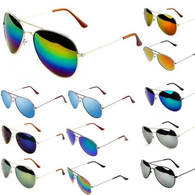 New Retro Vintage Womens Mens Aviator Mirror Reflective Lens Unisex Sunglasses