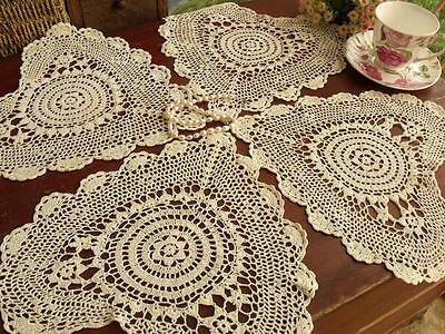 """Set of 4pcs ~Vintage HAND Crocheted Doily lot Cotton Lace - Heart Shape Ecru 12"""""""