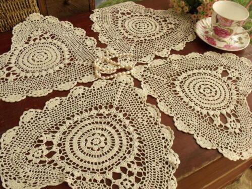 """Heart Shape Ecru 12/"""" Set of 4pcs ~Vintage HAND Crocheted Doily lot Cotton Lace"""