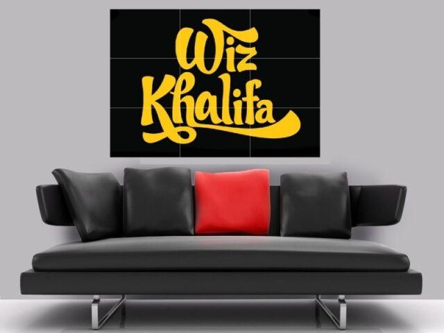 "WIZ KHALIFA LOGO BORDERLESS MOSAIC TILE WALL POSTER 35/"" x 25/"" HIP HOP RAP"