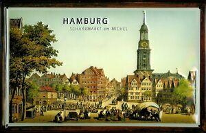 Schaarmarkt-am-Michel-Hamburg-Blechschild-Schild-3D-gepraegt-Tin-Sign-20-x-30-cm