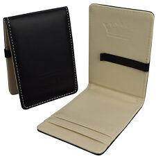 Mens Black Faux Leather Designer Wallet -Slim Money Clip Bifold-Card Cash Holder