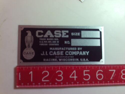 J.I Case Aluminium Tractor Engine Name Plate tag Nameplate JI