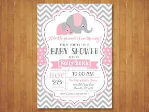 Elephant Baby Shower Invitation Girl Pink And Gray Chevron