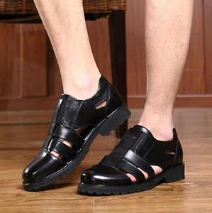 Fashion Men Hot fisherman sandals dress hollow out formal leather shoes slip on