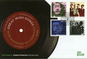 Ireland-2019-FDC-Great-Irish-Songs-U2-Cranberries-4v-Set-Cover-Music-Stamps