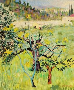 Paul-Etienne-Sain-Oil-Painting-Art-Modern-Landscape-Provence-View-Oily-Fig-Canes