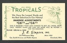 1942 PC CLEVELAND OH J B SIMPSON WOOL TROPICAL CLOTHING