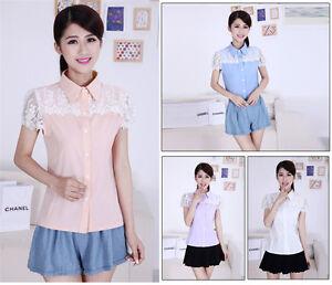 Fashion-Women-039-s-Plain-Lace-Slim-Career-Chiffon-Cap-Sleeve-T-Shirts-Tops-Blouses