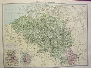 1920 LARGE MAP BELGIUM WITH LUXEMBURG BRUSSELS ANTWERP