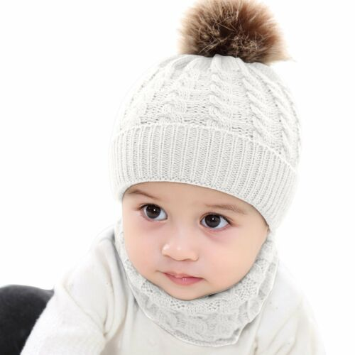 2Pcs Baby Boy Knit For Girl Winter Hat Toddler Kid Warm Beanie Crochet Cap+Scarf