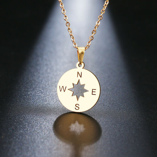 Compass Necklace Inspirational Jewelry Stainless Steel Pendant Gold /& Silver