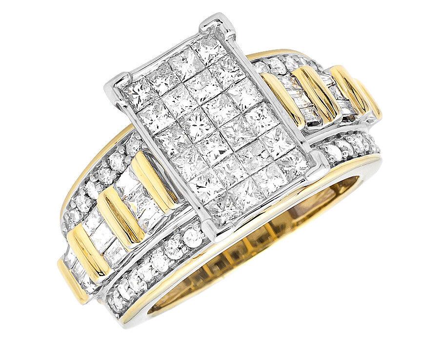 Ladies 10K Yellow gold Invisible Princess Diamond Engagement Wedding Ring 2.0 ct