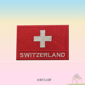 Switzerland National Flag With Name Embroidered Iron On Patch Sew On Badge