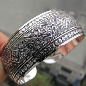 Antic Tibetan Silver Plated Tibets Totem Armreif Schmuck Manschette Breites ABOD