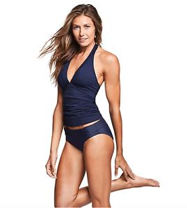 Athleta Shirrendipity Halter Tankini Top NWT Medium Tall Dress bluee Swim Surf