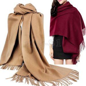 New-Fashion-Women-039-s-Solid-Warm-100-Cashmere-Pashmina-Scarf-Wrap-Shawl-Stole